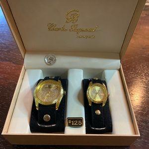 Charles Raymond Black Velvet Cuff & Gold Watch Set